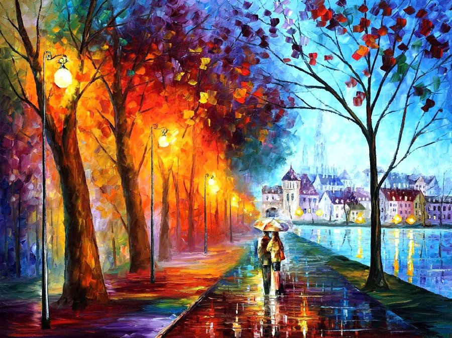 city by the lake    leonid afremov by leonidafremov-d4tqhnz