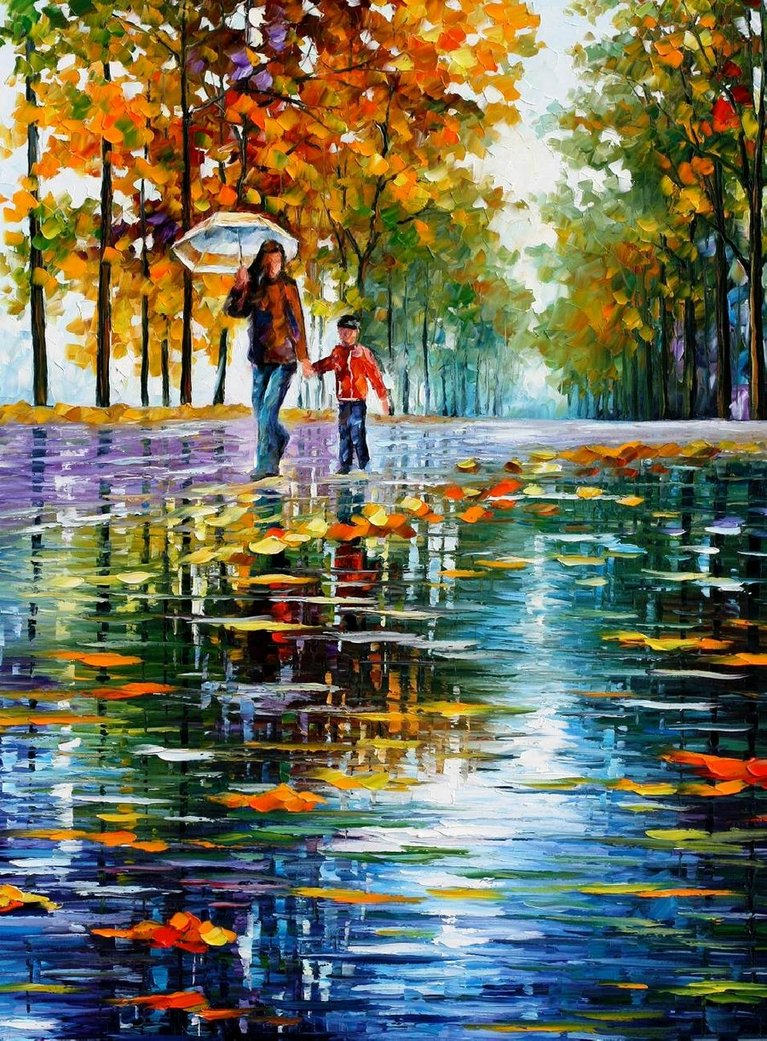 stroll in autumn park  afremov by leonidafremov-d47lq2l