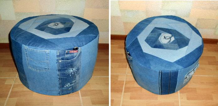 пуф из старых джинсов