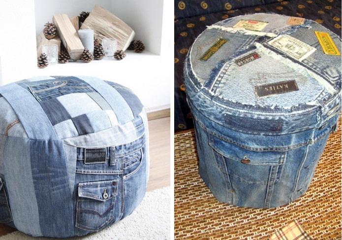 джинсовый пуф