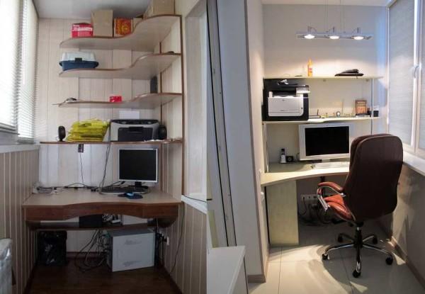 Рабочий кабинет в квартире на балконе или лоджии