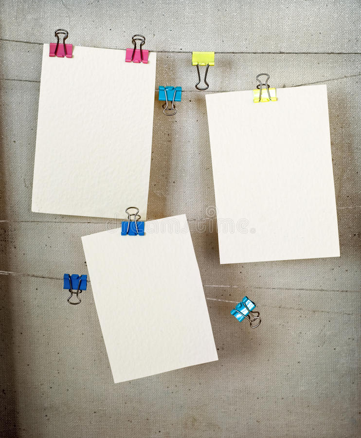 Cards hang on a clothesline royalty free illustration