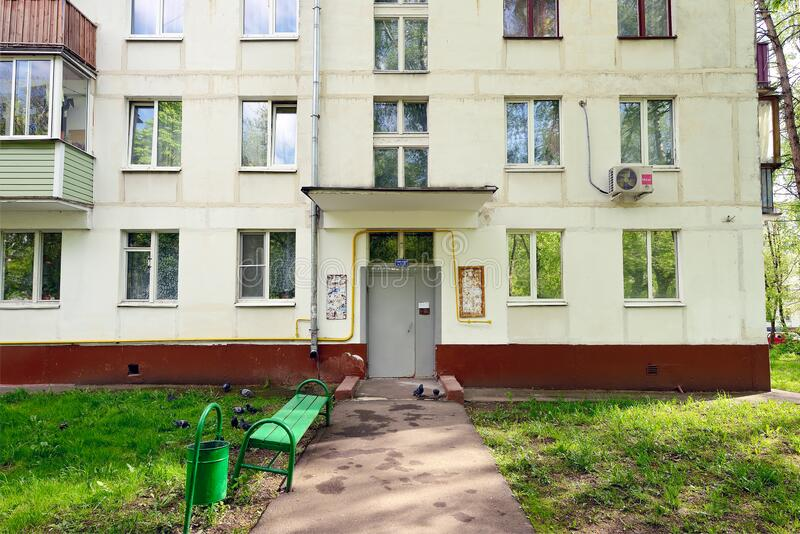 Khrushchev house - mass residential building in the USSR stock photos