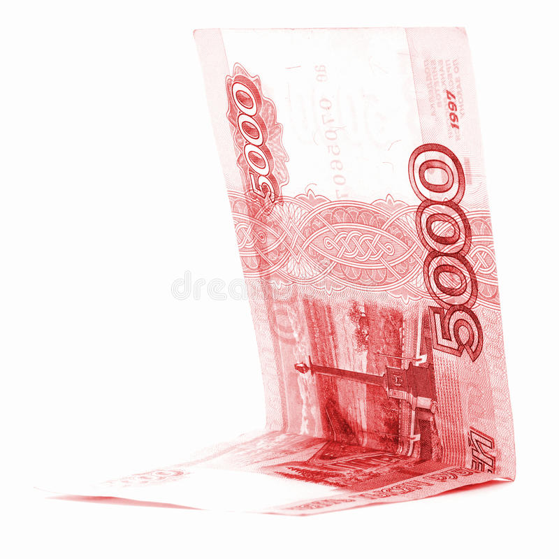 Red russian rouble money angle isolated on white background royalty free stock images