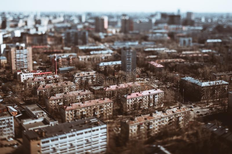 True tilt-shift shooting of residential district royalty free stock image